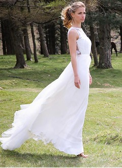 A-Line/Princess Scoop Neck Sweep Train Tulle Wedding Dress With Lace Bow(s)