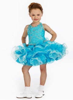 A-Line/Princess Halter Short/Mini Organza Satin Flower Girl Dress With Beading