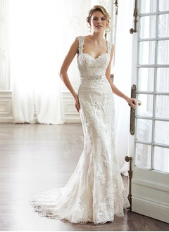 Sheath/Column Sweetheart Court Train Satin Lace Wedding Dress With Beading Bow(s)