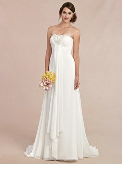 Empire Strapless Sweetheart Sweep Train Chiffon Wedding Dress With Ruffle Beading Flower(s)
