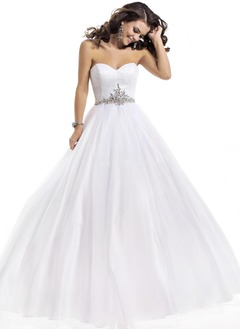 Ball-Gown Strapless Sweetheart Floor-Length Organza Sequined Prom Dress With Crystal Brooch
