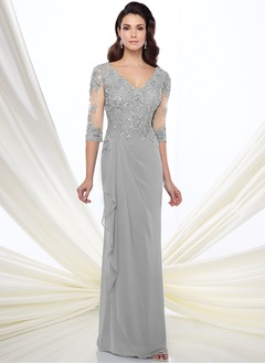 Sheath/Column V-neck Floor-Length Chiffon Mother of the Bride Dress With Lace Beading Appliques Lace