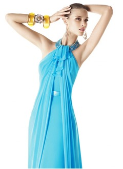 Sheath/Column Halter Floor-Length Chiffon Evening Dress With Beading Cascading Ruffles