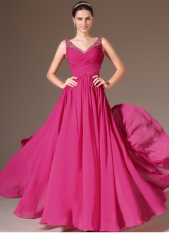 A-Line/Princess V-neck Floor-Length Chiffon Evening Dress  ...