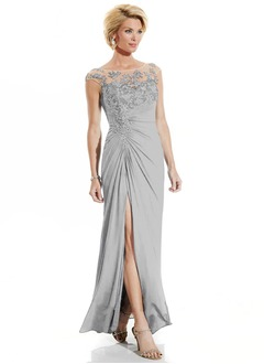 A-Line/Princess Scoop Neck Floor-Length Chiffon Mother of the Bride Dress With Ruffle Appliques Lace Sequins Split Front