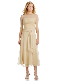 A-Line/Princess Scoop Neck Tea-Length 30D Chiffon Mother of the Bride Dress With Ruffle Beading