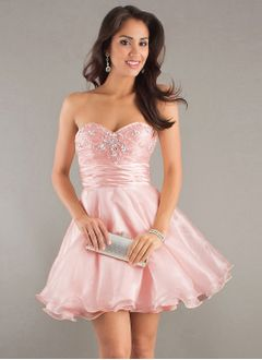 A-Line/Princess Sweetheart Short/Mini Organza Charmeuse Homecoming Dress With Ruffle Beading