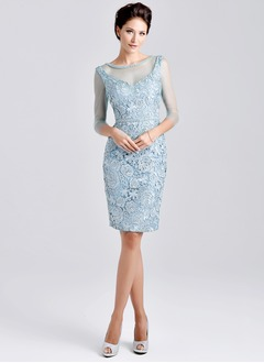 Sheath/Column Scoop Neck Knee-Length Satin Tulle Mother of the Bride Dress With Lace Beading Appliques Lace
