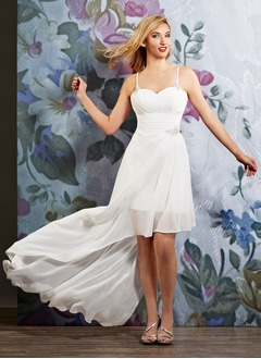 A-Line/Princess Sweetheart Asymmetrical Chiffon Wedding Dress With Ruffle Beading