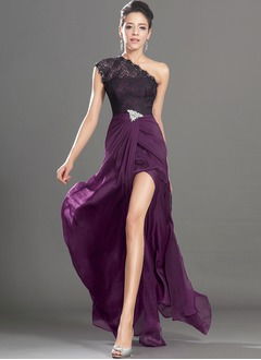 A-Line/Princess One-Shoulder Sweep Train Chiffon Lace Evening Dress With Ruffle Beading Split Front