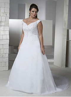 A-Line/Princess Off-the-Shoulder Chapel Train Tulle Wedding Dress With Embroidered Beading Sequins