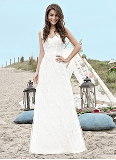 A-Line/Princess V-neck Sweep Train Lace Wedding Dress With Lace