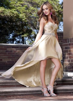 A-Line/Princess Strapless Sweetheart Asymmetrical Charmeuse 30D Chiffon Prom Dress With Beading