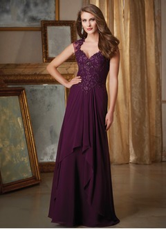 A-Line/Princess V-neck Sweep Train Chiffon Evening Dress With Ruffle Appliques Lace Sequins Cascading Ruffles
