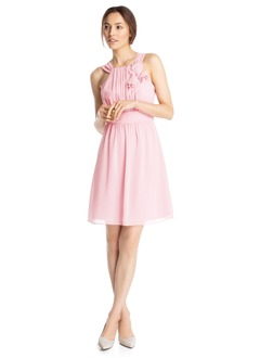 A-Line/Princess Square Neckline Knee-Length Chiffon Prom Dress With Ruffle Flower(s)