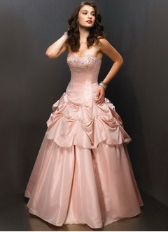 A-Line/Princess Sweetheart Floor-Length Taffeta Quinceanera Dress With Ruffle Beading