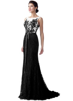 Sheath/Column Scoop Neck Sweep Train Lace Evening Dress With Lace Appliques Lace Bow(s)