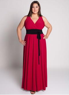 Empire V-neck Floor-Length Jersey Mother of the Bride Dress With Ruffle Sash