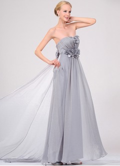 A-Line/Princess Strapless Sweep Train Chiffon Charmeuse Evening Dress With Ruffle Flower(s)