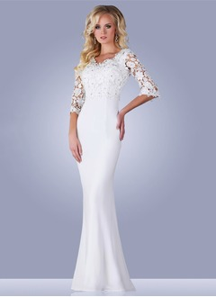 Trumpet/Mermaid V-neck Floor-Length Lace Jersey Evening Dress With Beading