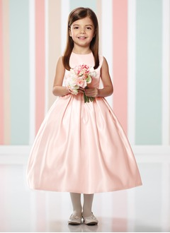 A-Line/Princess Scoop Neck Tea-Length Satin Flower Girl Dress With Ruffle