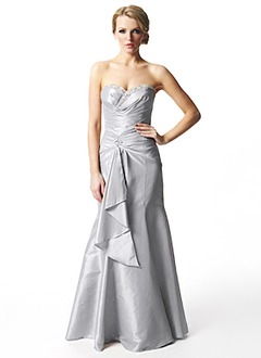 Trumpet/Mermaid Strapless Sweetheart Floor-Length Taffeta Prom Dress With Ruffle Beading