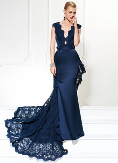 Trumpet/Mermaid V-neck Chapel Train Satin Evening Dress With Lace