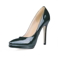 Patent Leather Stiletto Heel Pumps Closed Toe shoes  ...