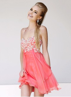 A-Line/Princess Sweetheart Halter Short/Mini Chiffon Homecoming Dress With Beading