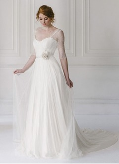 A-Line/Princess Sweetheart Court Train 30D Chiffon Wedding Dress With Flower(s)