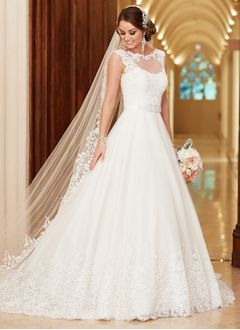 A-Line/Princess Scoop Neck Court Train Tulle Wedding Dress With Beading Appliques Lace