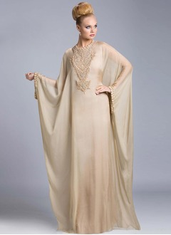 Sheath/Column Scoop Neck Floor-Length Chiffon Evening Dress With Beading