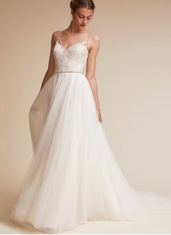 A-Line/Princess V-neck Court Train Tulle Wedding Dress With Beading (0025119954)