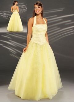 Ball-Gown Halter Floor-Length Taffeta Tulle Quinceanera Dress With Ruffle Beading
