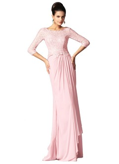 Sheath/Column Scoop Neck Floor-Length Chiffon Lace Evening Dress With Ruffle Cascading Ruffles