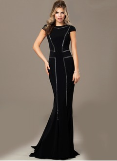 Trumpet/Mermaid Scoop Neck Sweep Train Mother of the Bride Dress With Sequins