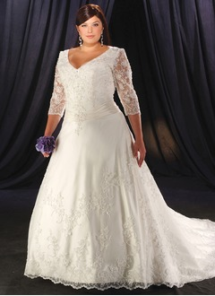A-Line/Princess V-neck Cathedral Train Satin Tulle Wedding Dress With Lace Beading