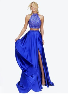 A-Line/Princess Halter Court Train Charmeuse Prom Dress With  ...