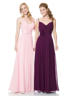 A-Line/Princess Sweetheart Floor-Length Chiffon Bridesmaid Dress With Flower(s)