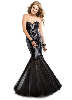 Trumpet/Mermaid Strapless Sweetheart Floor-Length Satin Tulle Lace Prom Dress With Appliques Lace