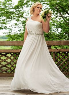 A-Line/Princess One-Shoulder Sweep Train Chiffon Wedding Dress With Ruffle Beading