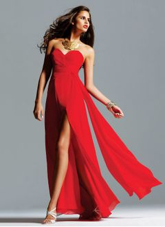 A-Line/Princess Strapless Sweetheart Floor-Length Chiffon Bridesmaid Dress With Ruffle Split Front