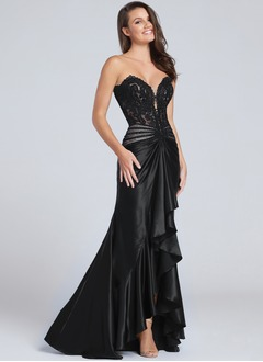 Sheath/Column Strapless Sweetheart Asymmetrical Charmeuse Prom Dress With Lace Beading