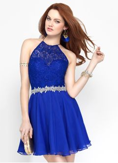 A-Line/Princess Halter Short/Mini Chiffon Lace Homecoming Dress With Beading