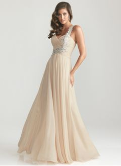 A-Line/Princess Sweetheart One-Shoulder Sweep Train Chiffon Prom Dress With Appliques Lace