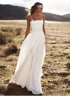 A-Line/Princess Floor-Length Chiffon Wedding Dress With  ...