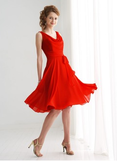 A-Line/Princess Cowl Neck Knee-Length Chiffon Bridesmaid Dress With Bow(s)