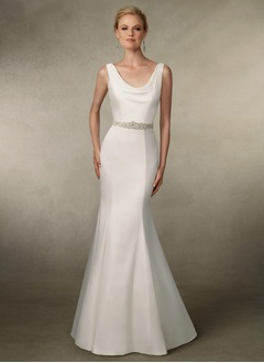 Trumpet/Mermaid Cowl Neck Sweep Train Satin Wedding Dress With Beading