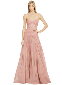 Trumpet/Mermaid Strapless Sweetheart Floor-Length Chiffon Prom Dress With Lace Pleated