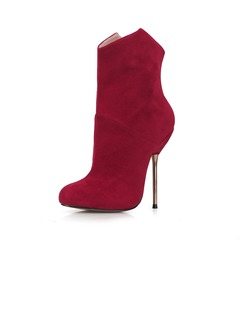 Suede Stiletto Heel Closed Toe Boots Ankle Boots With Zipper  ...
